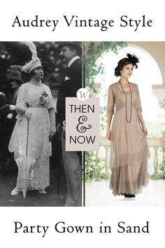 The Audrey Vintage Style Party Gown in Sand by Nataya could have come right off the screen of Downton Abbey. With a gorgeously detailed bodice that trails into a v-neck collar and three-quarter sleeves, you'll command attention just as surely as Violet Crawley, Dowager Countess of Grantham...