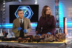 "Brennan (Emily Deschanel) and Dr. Douglas Filmore (guest star Scott Lowell) in ""The Suit In The Set"" episode of BONES."