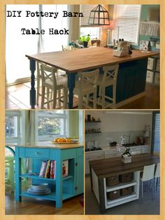 Make your very own kitchen island or craft table with storage out of just a couple bookshelves and a cabinet.