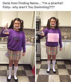 Darla Sherman from finding Nemo Diy Halloween Costumes For Kids, Halloween Outfits, Disney Costumes For Women, Costumes Kids, Meme Day Costumes, 90s Cartoon Costumes, Costume Ideas, Finding Nemo Costume, Homecoming Spirit Week