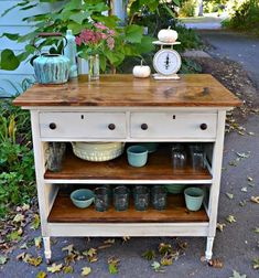 39 trendy kitchen island table diy old dressers Dresser Kitchen Island, Kitchen Island Makeover, Farmhouse Kitchen Island, Kitchen Island Table, Kitchen Islands, Antique Kitchen Island, Rustic Kitchen, Farmhouse Style, Repurposed Furniture