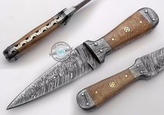 "7.75"" Custom Made Beautiful Damascus Steel skinning Boot Dagger Knife (AA-0359-6…"