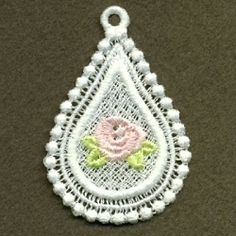FSL Rose Pendant 9 - 4x4 | FSL - Freestanding Lace | Machine Embroidery Designs | SWAKembroidery.com Ace Points Embroidery