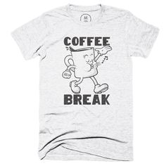 """""""Coffee Break""""by Rob Zangrillo for Cotton BureauWho doesn't love a coffee break? Inspired by 1930's animation, this little guy is your caffeinated, happy-go-lucky mascot. Hand-drawn and lettered.Printed on super soft poly-cotton blend heather tee.Buy it Here! https://cottonbureau.com/products/coffee-break"""