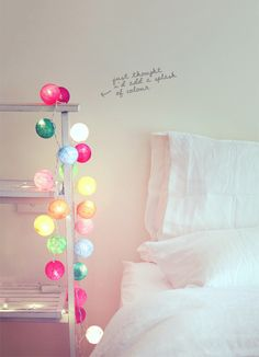 Cable and cotton fairy lights Cable And Cotton Lights, Cotton Ball Lights, My New Room, My Room, Room Inspiration, Interior Inspiration, Home Bedroom, Bedroom Decor, Bedrooms