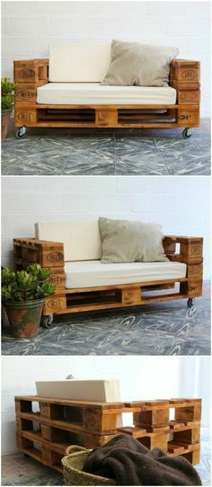 Pallet sofa with wheels. Sofa made with pallets. Furniture with pallet tables. Pallet furniture Pallet sofa with wheels and glass. Sofa made with pallets. Furniture with pallet tables. Furniture of pallets. Pallet Furniture Designs, Wooden Pallet Furniture, Wooden Pallets, Diy Furniture, Outdoor Furniture, Furniture Stores, Diy With Pallets, Euro Pallets, Pallet Designs