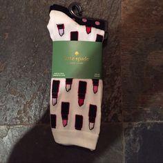 NWT Kate Spade Lipstick Dot Trouser Socks - 2 pair Back in stock!  Adorable trouser socks!  Style KS6262 in fresh white/black. kate spade Accessories Hosiery & Socks