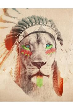 lion and an american head dress