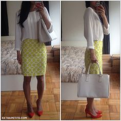 Print skirt with solid blouse and bold shoes