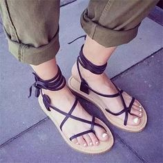 995d1daad Summer Style Nubuck Leather Ankle Tie Flat Sandals Crosscriss Rome Boho  Gladiator Sandals Women Flip Flops Casual Shoes Sandalias Mujer