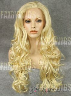 Super Smooth Long Blonde Female Wavy Lace Front Hair Wig