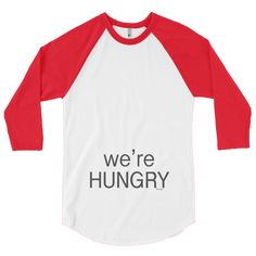 We're Hungry #beanandjean A stylish spin on the classic baseball raglan. The combed cotton blend makes it super soft, comfortable, and lightweight.  • ¾ Sleeve raglan shirt • Poly-cotton blend (50% polyester, 50% combed cotton) • Ribbed neckband • Made in the USA, sweatshop free