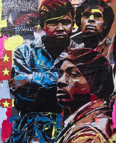 Really good street art peice of Blackpanthers by BToy