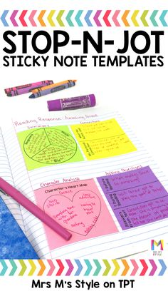 I absolutely love these stop-n-jot sticky note templates. They are a perfect addition to your students interactive reading journals. These mini graphic organizers are a great tool to help students improve their reading comprehension.