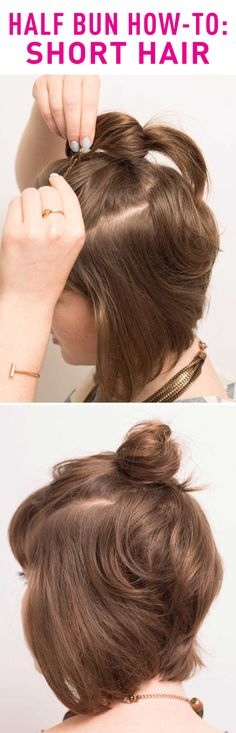 Women with short hairstyles —you can now rock the half bun look with these easy steps! Start by creating two parts in your hair in line with your temples. Pull this hair into a high ponytail and secure with an elastic band. Then take small pieces from the ponytail and pin down around the ponytail to create a baby bun. Find the full instructions and expert tips here!