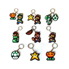 Sprites de la mitica saga de videojuego Super Mario Bros. En llavero, broche, iman o sprite grande para decoración.    Se personalizan y se