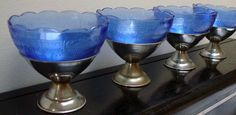 set of 4 depression glass royal blue sherbet by StaceyScottVintage, $20.00