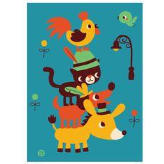 Bora poster Bremer stadsmuzikanten: deze prachtige poster met de Bremer stadsmuzikanten naar een sprookje van Grimm is een echte eye-catcher in de kinderkamer.