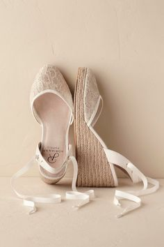BHLDN Sonrisa Espadrilles: When it comes to comfortable heels, it doesn't get much better than a wedge. These espadrilles—from Anthropologie's bridal boutique BHLDN—have lovely details like metallic lace and wraparound grosgrain ribbon. Boho Wedding Shoes, Wedding Wedges, Wedge Wedding Shoes, Bridal Shoes Wedges, Wedding Dress, Boho Heels, Comfortable Heels, Comfortable Bridal Shoes, Bride Shoes