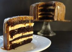 Four layers of moist chocolate fudge cake filled with salted caramel swiss…