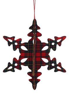 Classic Christmas: Tartan Plaid Snowflake Ornament