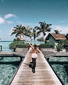 inspiration | travel | vacation | trip | adventure | explore | wanderlust | wild and free | distant places | ocean | water | turquoise | girl |  fun | bridge | bicycle | cruising | driving | palms | palm trees | free people |