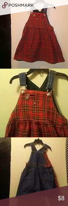 Tommy hilfiger dress Tommy hilfiger dress,overalls and a  Dress,red and white plaid with blue jean in the back,heart and zipper in front of dress,smoke free home and super adorable Tommy Hilfiger Dresses Casual