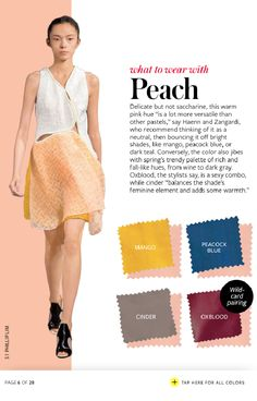 Instyle What to Wear with peach Colour Combinations Fashion, Color Combinations For Clothes, Fashion Colours, Colorful Fashion, Color Combos, Instyle Magazine, Color Pairing, All About Fashion, Fashion Advice