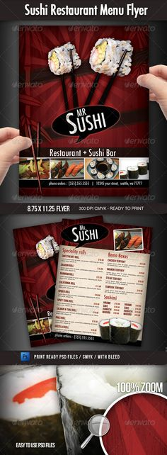 Sushi Restaurant Menu Flyer A great design for a sushi restaurant, you can use this flyer to advertise your business and promote your menu items with style. This 8.5×11 (with bleed area) 300 dpi CMYK flyer can be easily personalized with your own information, prices, pictures, etc.