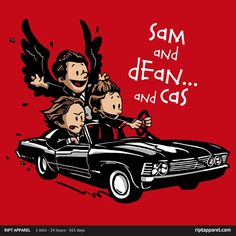 Sam and Dean…and Cas! T-Shirt | Supernatural and Calvin and Hobbes mashup tee at RIPT today only!