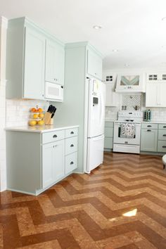 A herringbone cork floor made by Globus Cork, selected and installed by PrettyHandyGirl.com