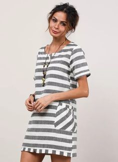 Stripe None Round Neckline Above Knee Shift, Dress - Gray / XS Spring Dresses, Day Dresses, Short Sleeve Dresses, Striped Shorts, Striped Dress, Gray Dress, Latest Fashion Trends, Tunic Tops, Sleeves
