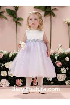 Tea Length White Satin Lavender Tulle Puffy Flower Girl Dress Flowers Belt