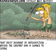 Eve just beat the tar out of the serpent. Adam holding her back. Christian Comics, Christian Cartoons, Christian Kids, Christian Humor, Religious Humor, Atheist Humor, You Funny, Hilarious, Funny Stuff