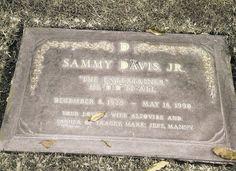 "Sammy Davis Jr. Headstone Postcard    Singer, dancer, entertainer, and ""Rat Pack""---trouper Sammy Davis Jr. (1925-1990)---final residence in Forest Lawn Memorial Park, Glendale, California."