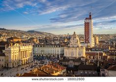 Turin (Torino), panorama from the Cathedral bell tower - stock photo