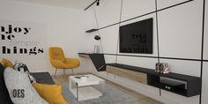 #biurkowsalonie #nowoczesnaściana indywidualnie priojektowana obudowa ściany i zabudowa pod tv wraz z miejscem do pracy, żółty fotel, czarne półki