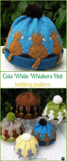 Baby Knitting Patterns Knit Cat White Whiskers Hat Paid Pattern - Fun Kitty Cat Hat...