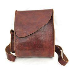"Leather Bag. Dimensions: W 9"" x H 11"" x D 4"""