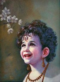 Lord Krishna, in his infant avatar. Kadam has tried to concentrate only on the facial expressions of the popular god, showing sweetness, tenderness, charm and serenity. Krishna Leela, Jai Shree Krishna, Radha Krishna Love, Krishna Radha, Hanuman, Little Krishna, Cute Krishna, Lord Krishna Images, Radha Krishna Pictures