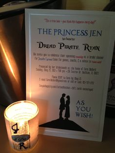Very proud of the Princess Bride-themed invitations I created! Simple but cute, if I may say so. :)