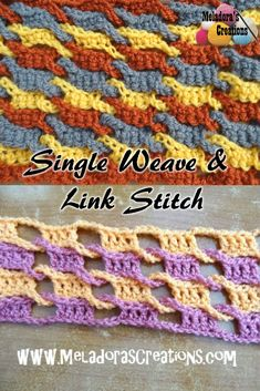 Single Weave and Link Stitch – Free Crochet Pattern Share this: This Free Crochet pattern teaches how to do the single link and weave stitch. Make it with single crochets to make a warmer stitch or use Double crochets to make a lacy stitch. Picot Crochet, Crochet Motifs, Crochet Stitches Patterns, Diy Crochet, Crochet Crafts, Crochet Projects, Stitch Patterns, Knitting Patterns, Crochet Tutorials