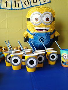 This year we celebrated Miss M's party Minion style. She was totally against the idea until I showed her the super cute minions I was making. Despicable Me Party, Minion Party, Minion Birthday, Baby Birthday, I Party, Party Time, Pinata Party, Party Cups, Party Ideas