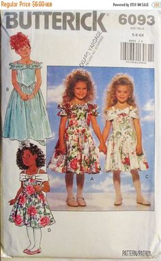40% OFF SALE 1990s Childrens Sewing Pattern Butterick 6093 Childrens Dress Pattern Size 5, 6, 6X Uncut by SewYesterdayPatterns on Etsy