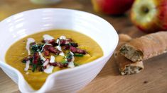 Hairy BIkers Apple and Celeriac Soup with Bacon and Parsley. Eating apples give a sweet note to this root vegetable soup, topped with crisp pieces of bacon and crème fraîche. Lentil And Bacon Soup, Parsnip Soup, A Food, Food And Drink, Parsley Recipes, Apple Crumble Recipe, Cooking For Three, Smoked Bacon, Cheese