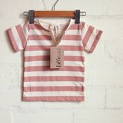 Lightweight Unisex Organic Cotton Placket Tee - Coral Stripe on Cream