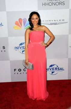 Tamera Mowry-Housley wearing an M.C.L by Matthew Campbell Laurenza handbag to the NBC Universal's 69th Annual Golden Globe Awards After Party at The Beverly Hilton hotel on January 15, 2012 in Beverly Hills, California
