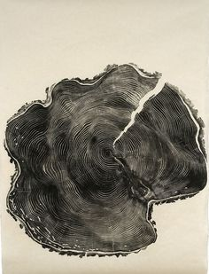 Woodcut print from a found tree stump by Bryan Nash Gill