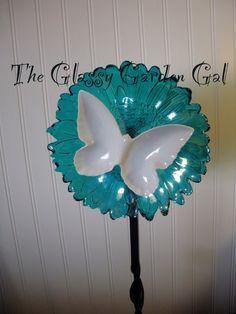 Glass plate garden flower, Glass garden art, yard art, repurposed recycled up cycled glass, unique garden decor, sun catcher,  www.TheGlassyGardenGal.com