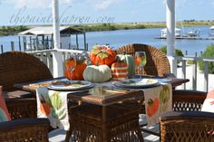 Fearless Friday, Painting Pumpkins and a Giveaway! Coastal Fall, Coastal Decor, Small Pumpkins, Painted Pumpkins, Fearless Friday, Little Falls, Dinner Plates, Table Runners, Pottery Barn